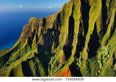 Beautiful Aerial View Of Na Pali Coast