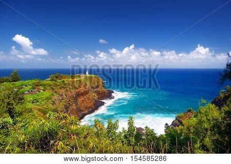 Kilauea Lighthouse Bay On A Sunny Day In Kauai