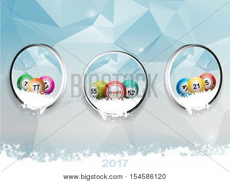 Three Metallic Border with Christmas Bingo Balls and Snow Falling Out Over Geometric Ice and Snow Background