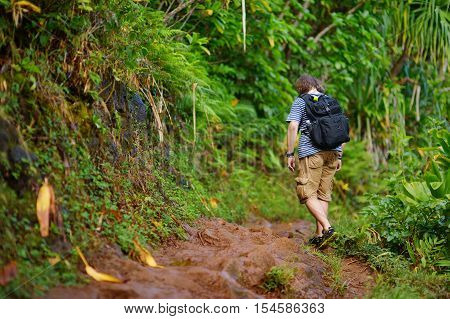 Young Hiker On Kalalau Trail In Kauai