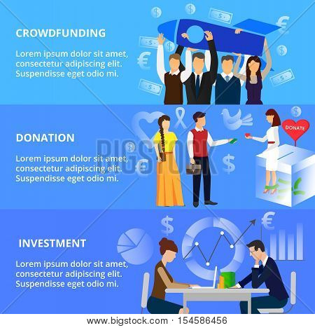 Modern flat thin line design vector illustration concepts of crowdfunding donation process and investment for business for graphic and web design