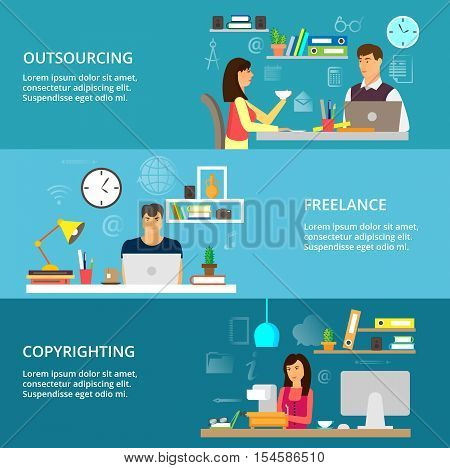 Modern flat thin line design vector illustration concepts of outsourcing freelance and copyrighting process for graphic and web design