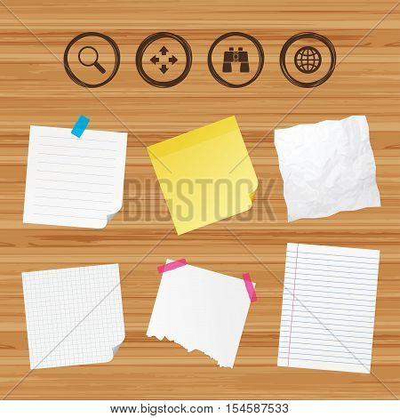 Business paper banners with notes. Magnifier glass and globe search icons. Fullscreen arrows and binocular search sign symbols. Sticky colorful tape. Vector