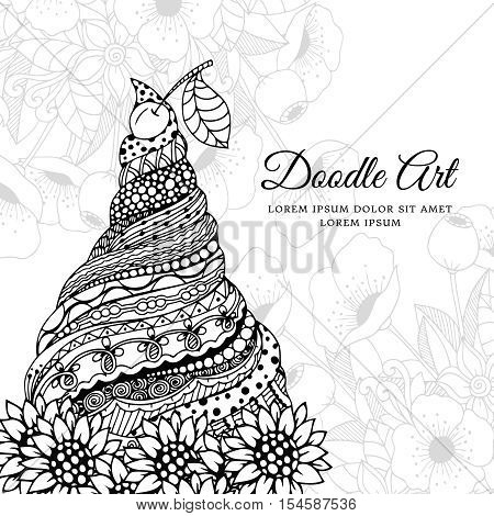 Vector illustration Zen Tangle, ice cream with ornament. Doodle drawing. Coloring book anti stress for adults. Black and white.