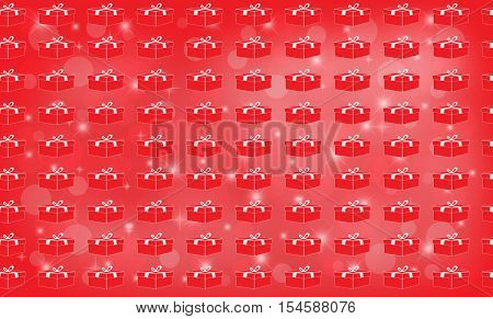 Red background and glowing stars with Christmas and New Year present boxes