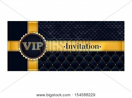 VIP party premium invitation card poster flyer. Black and golden design template. Quilted and triangle patterns decorative background with gold ribbon and round badge.