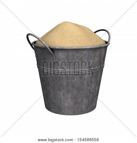 3D Rendering Pail Of Sand On White