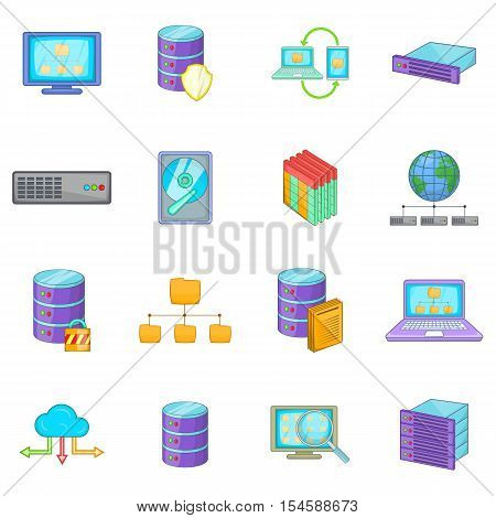 Data base icons set. Cartoon illustration of 16 data base vector icons for web