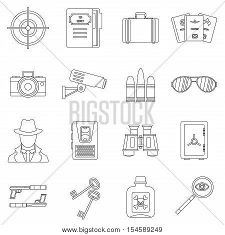 Spy tools icons set. Outline illustration of 16 spy tools travel vector icons for web