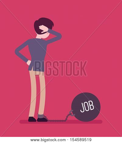 Businessman chained with a giant metall weight, written Job on a ball, thinking the problem over, scratching his head. Rear view. Cartoon vector flat-style concept illustration