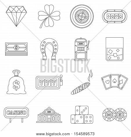 Casino icons set. Outline illustration of 16 casino vector icons for web