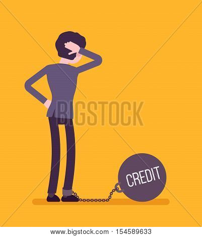 Businesswoman chained with a giant metall weight, written Credit on a ball, thinking the problem over, scratching his head. Rear view. Cartoon vector flat-style concept illustration