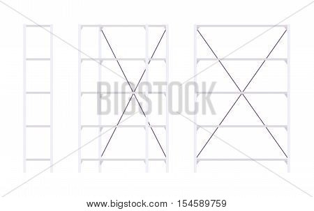 Set of metal white standing rack shown from different positions. Cartoon vector flat-style illustration