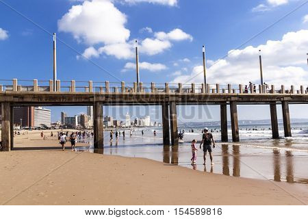 Vetchies Pier And Durban City Skyline And Blue Sky