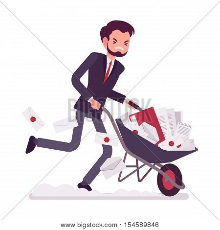 Businessman pushing quickly a wheelbarrow full of paper. Cartoon vector flat-style concept illustration