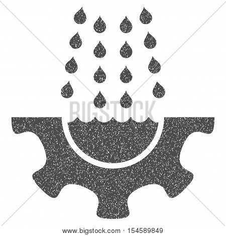 Water Shower Service Gear grainy textured icon for overlay watermark stamps. Flat symbol with dust texture. Dotted vector gray ink rubber seal stamp with grunge design on a white background.