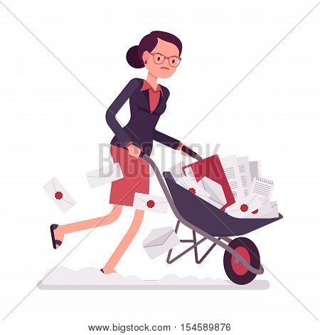 Businesswoman pushing quickly a wheelbarrow full of paper. Cartoon vector flat-style concept illustration