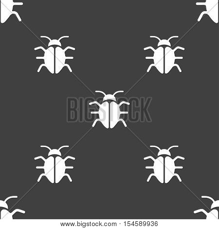 Bug, Virus Icon Sign. Seamless Pattern On A Gray Background. Vector