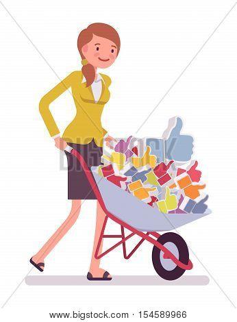 Businesswoman pushing a wheelbarrow full of likes. Cartoon vector flat-style concept illustration