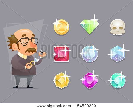 Jeweler Valuer Appraiser Quality Check Process Icon Set Retro Cartoon Mobile game Vector Illustration