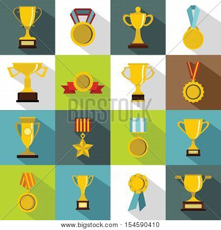 Trophy icons set. Flat illustration of 16 trophy vector icons for web