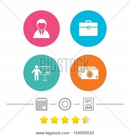 Businessman icons. Human silhouette and cash money signs. Case and presentation with chart symbols. Calendar, cogwheel and report linear icons. Star vote ranking. Vector