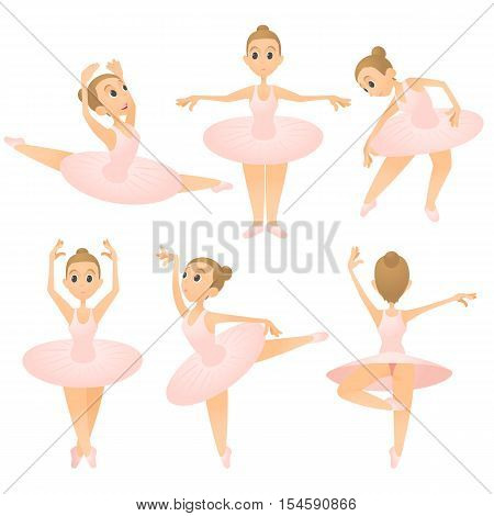 Ballerina girl concept set. Cartoon illustration of 6 ballerina girl vector concepts for web