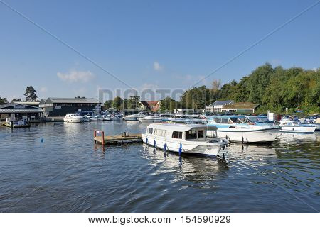 Wroxham Norfolk United Kingdom - October 25 2016: Pleasure Boats on River Yare centre for tourism on Norfolk Broads