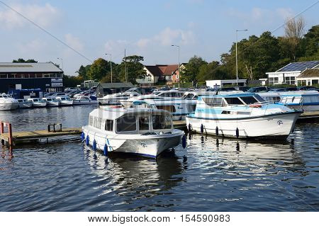Wroxham Norfolk United Kingdom - October 25 2016: Large pleasure Boats on River Yare centre for tourism on Norfolk Broads