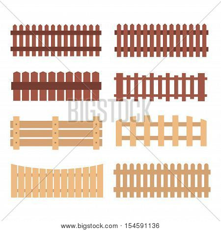 Wooden fences on white background. Set of wooden fences.