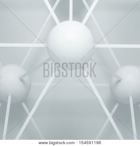 3d illustration. Abstract white three-dimensional composition render. The structure of the balls and connecting rods. The image of the atoms molecules the hinge.