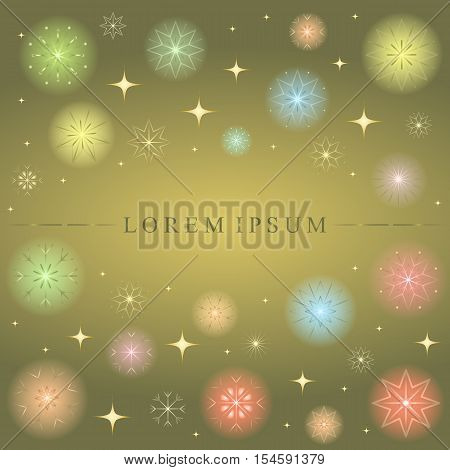 Shimmering Colorful Snowflakes. Golden Shimmering Stars and Colorful Snowflakes on Gold Background. Perfect for Festive Design. Vector Illustration.