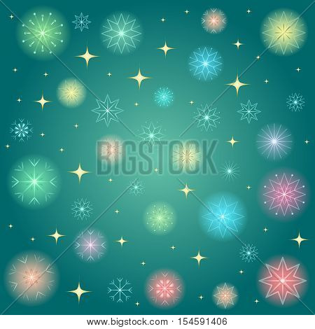 Shimmering Colorful Snowflakes. Golden Shinning Stars and Colorful Snowflakes on Green Background. Perfect for Festive Design.Vector Illustration.