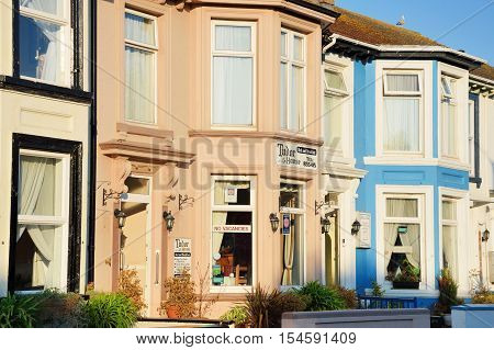 Great Yarmouth Norfolk United Kingdom - October 25 2016: Traditional english Bed Breakfast hotel