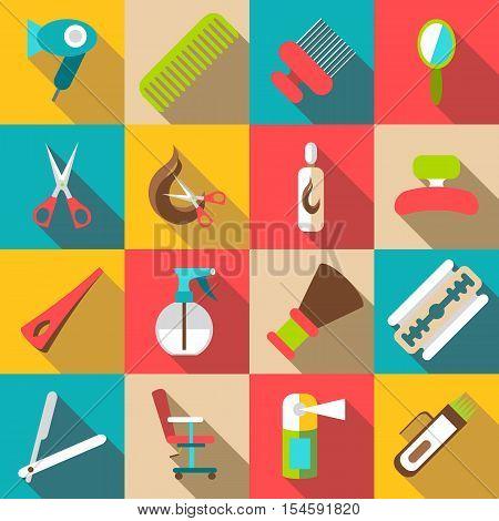 Hairdresser icons set. Flat illustration of 16 hairdresser vector icons for web