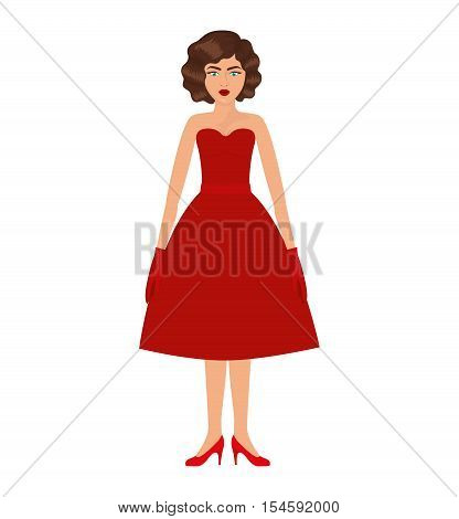 woman with red prom dress and eighties hairstyle vector illustration