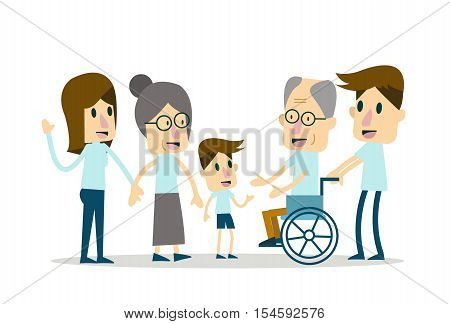 Happy Family and elderly care. flat character design. vector illustration