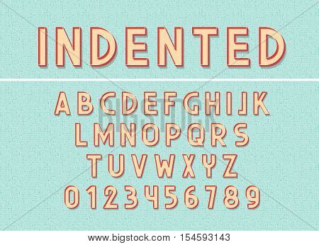 Font and abc letters print typography vector Illustration. Retro type font, vintage alphabet. Font english lowercase letters