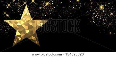 Christmas black banner with golden star. Vector illustration.