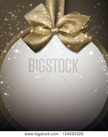Christmas round background with golden satin bow. Vector illustration.