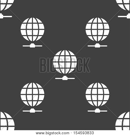 Website Icon Sign. Seamless Pattern On A Gray Background. Vector