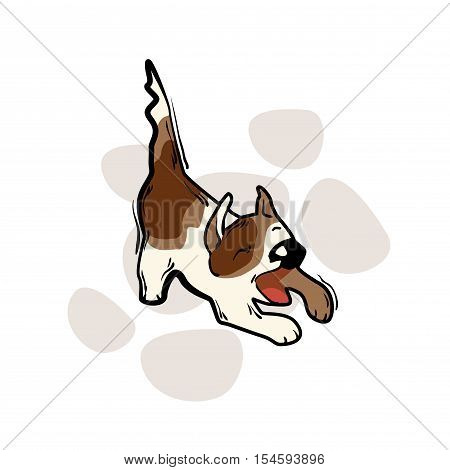 Funny cartoon dog. Vector illustration isolated on white background.