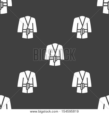Bathrobe Icon Sign. Seamless Pattern On A Gray Background. Vector