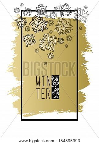 Vertical snowflakes concept design with winter label. Polygonal trendy style snowflakes on white background with gold stroke . Winter holidays snowfall design. Vector illustration stock vector.