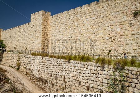JERUSALEM ISRAEL - OCTOBER 5: Part of the western wall of the Old City of Jerusalem near the Jaffa Gate in Jerusalem Israel on October 5 2016