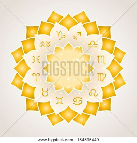 Astrology circle with signs of zodiac. Gold frame with zodiac astrological symbols. Vector illustration
