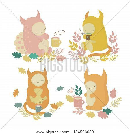 Cute monsters set and mugs of cocoa in autumn forest. illustration