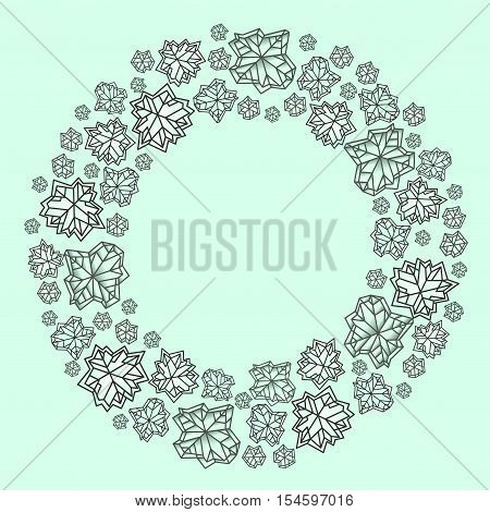 Round circle snowflakes concept design. Polygonal trendy style snowflakes on mint green background. Winter holidays snowfall design. Vector illustration stock vector.
