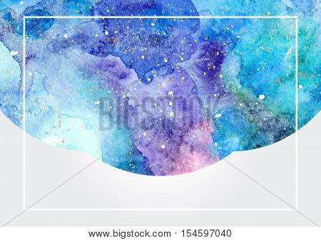 Watercolor blue abstract background with white frame. Cosmic space background