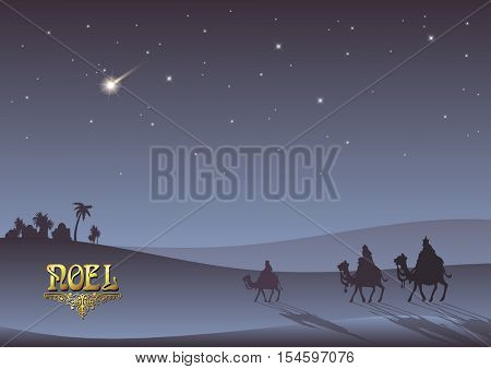 Stylized Biblical Christmas etude: three Wise Men are visiting the new King of Jerusalem Jesus Christ after His birth.